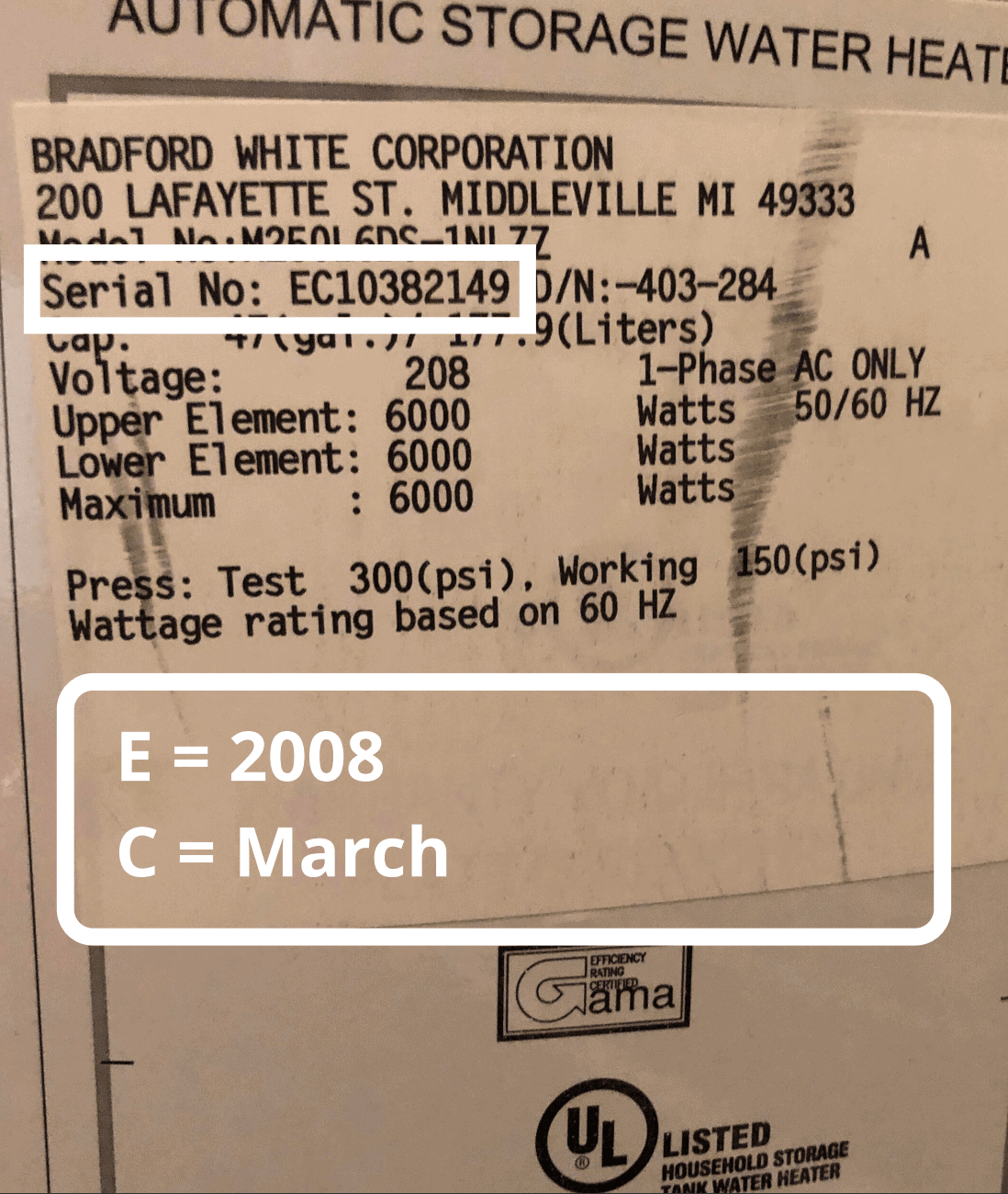 bradford white water heater age serial number lookup